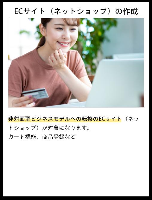 ECサイト(ネットショップ)の作成 非対面型ビジネスモデルへの転換のECサイト(ネットショップ)が対象になります。カート機能、商品登録など